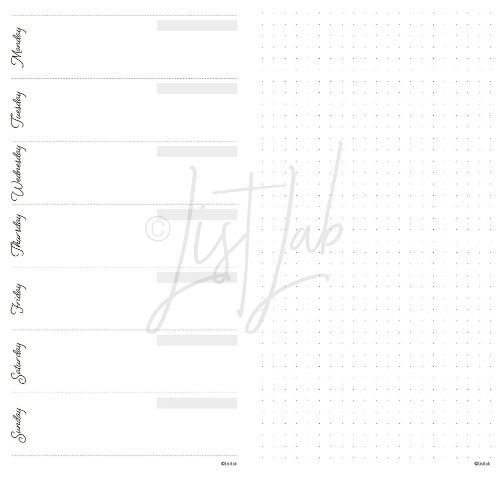 WO1P VARIATION: 1-PAGE WEEKLY HORIZONTAL AND GRID PAGE (WO1P H WITH VARIATION)