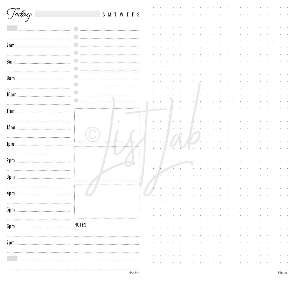 DAILY SCHEDULE VARIATION: DAILY SCHEDULE AND DOTTED PAGE (DAILY S w/ variation)