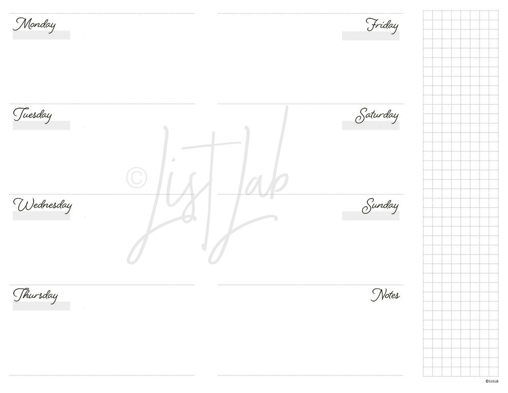 2-PAGE MONTHLY HORIZONTAL WITH GRID FLAP (WO2P H WITH FOLD)