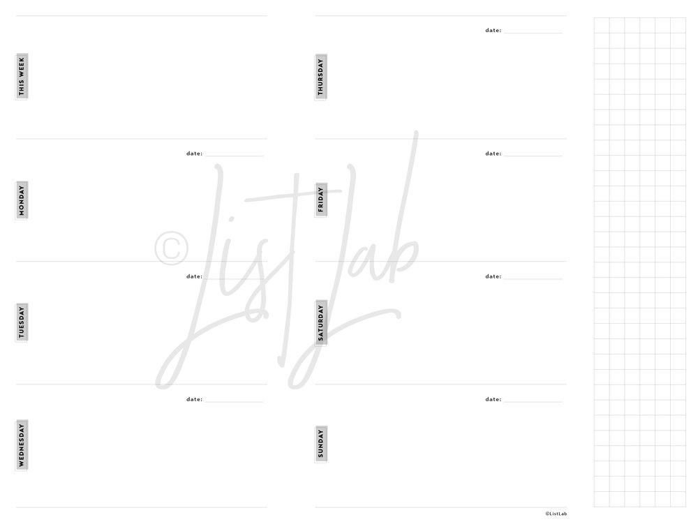 2-PAGE WEEKLY HORIZONTAL (WO2P H w/ FOLD)