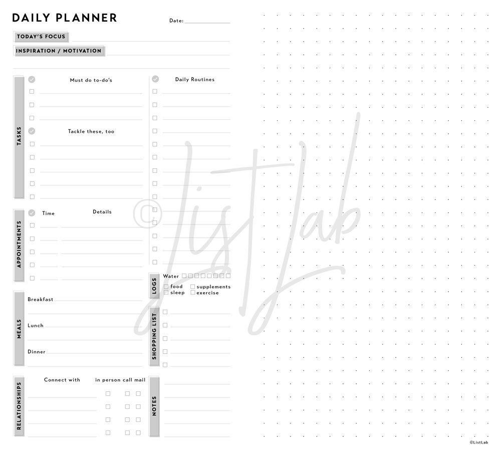 DAILY PLANNER VARIATION: DAILY PLANNER & DOTTED PAGE ((DAILY P WITH VARIATION)