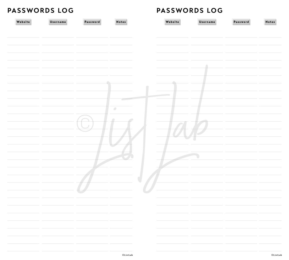 PASSWORDS LOG