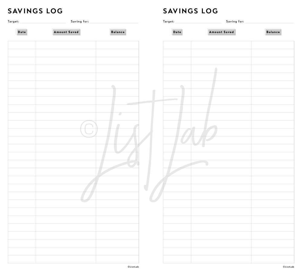 SAVINGS LOG