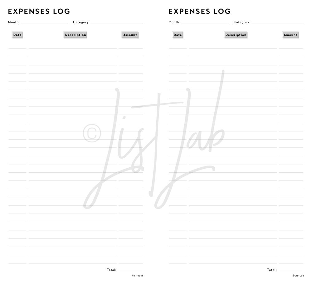 EXPENSES LOG