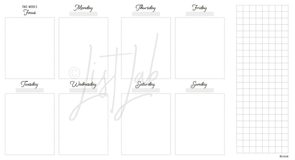2-PAGE WEEKLY VERTICAL W/ GRID FLAP (WO2P VU W/ FOLD)