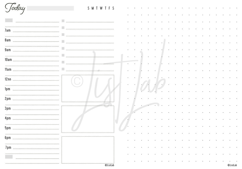 DAILY SCHEDULE VARIATION: DAILY SCHEDULE & DOTTED PAGE (DAILY S W/VARIATION)
