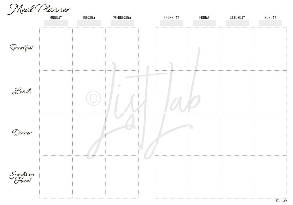 2-PAGE MEAL PLANNER