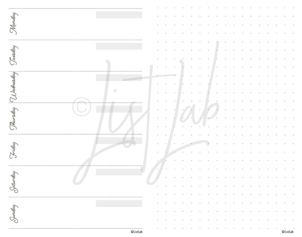 1-PAGE WEEKLY VARIATION: 1-PAGE WEEKLY HORIZONTAL AND DOTTED PAGE (WO1P H WITH VARIATION)
