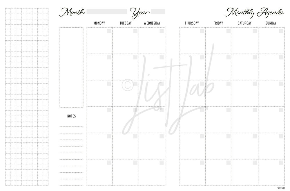2-PAGE MONTHLY WITH GRID FLAP MON TO SUN  (MO2P FOLD MON TO SUN