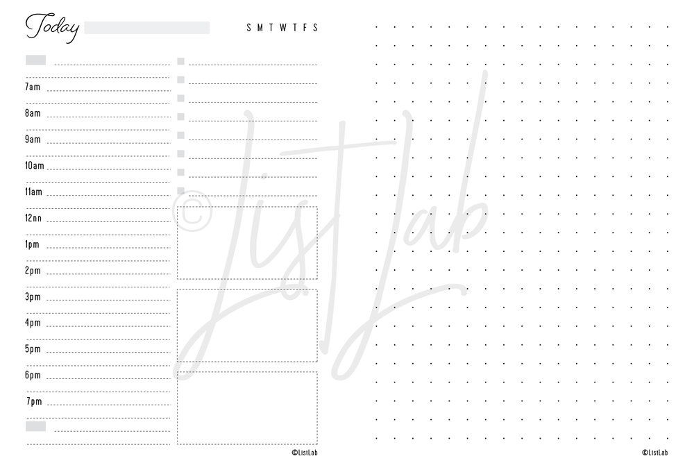 DAILY SCHEDULE VARIATION: DAILY SCHEDULE & DOTTED PAGE (DAILY S WITH VARIATION)