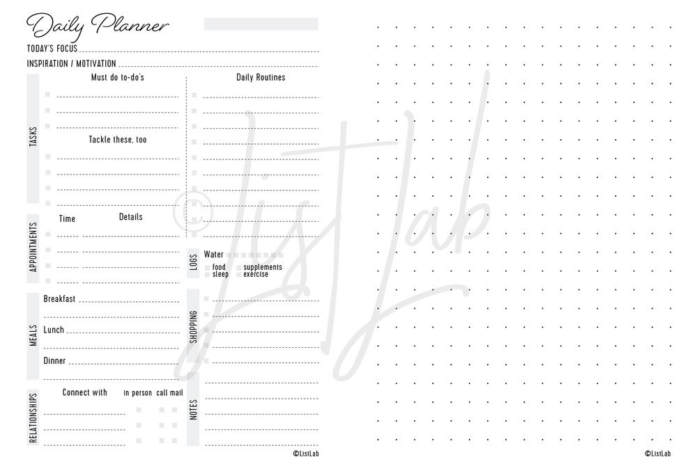 DAILY PLANNER VARIATION: DAILY PLANNER & DOTTED PAGE (DAILY P WITH VARIATION)