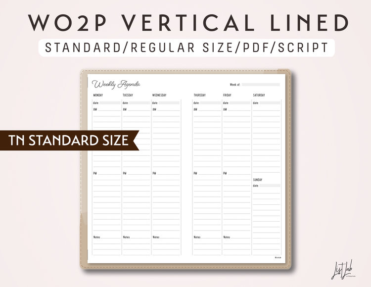 STANDARD SIZE TN Week on 2 Pages Vertical Lined - Printable ...