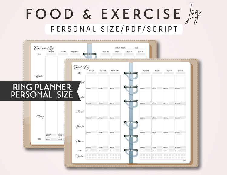 personal size exercise log and food log printable ring planner insert script theme