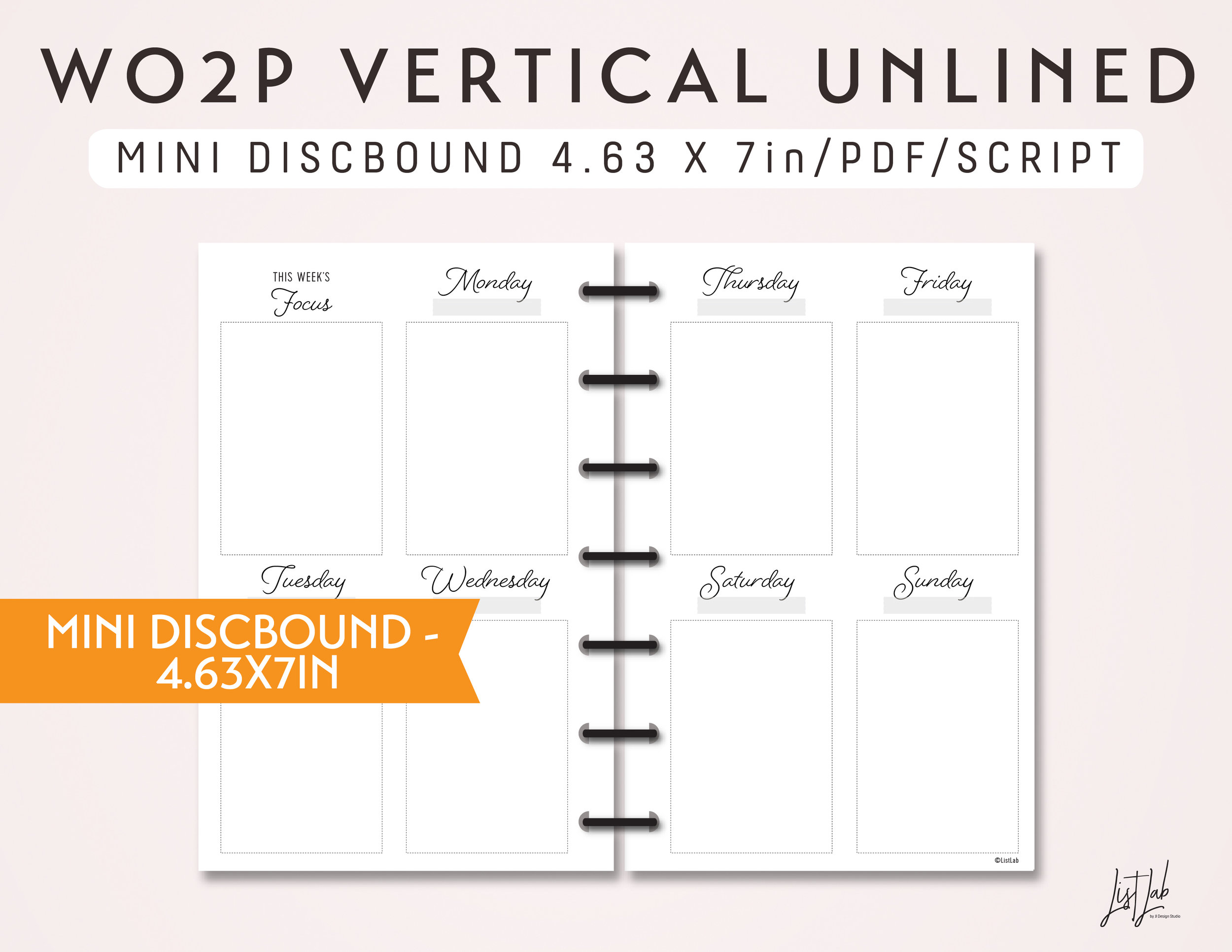 image about Discbound Planner Pages Printable known as MINI DISCBOUND 7 days upon 2 Web pages Vertical Unlined - Printable Discbound Planner Increase (4.63 x 7in just)