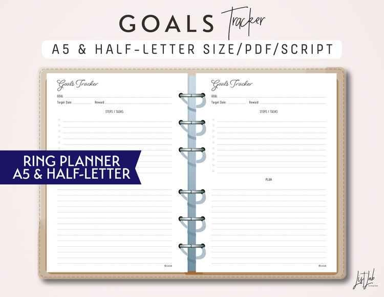 a5 and half letter goals tracker printable ring planner insert script theme