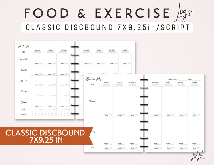 classic discbound food and exercise logs set printable planner insert 7x925in script theme