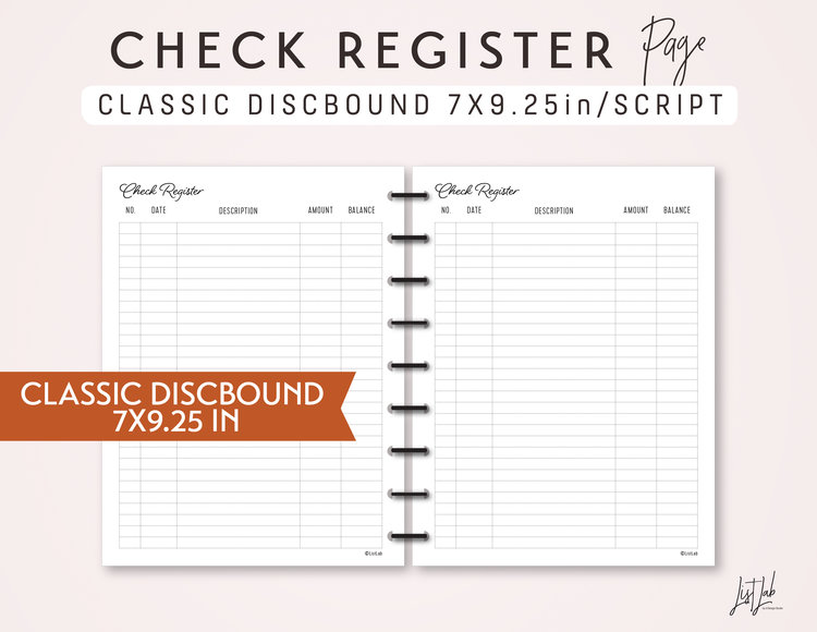 classic discbound check register printable discbound planner