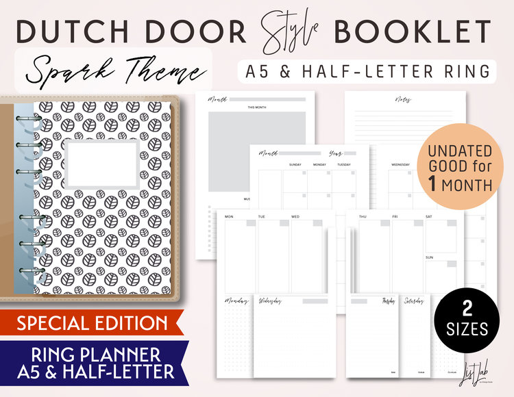 dutch door style a5 and half letter size monthly weekly daily dot grid printable ring planner inserts