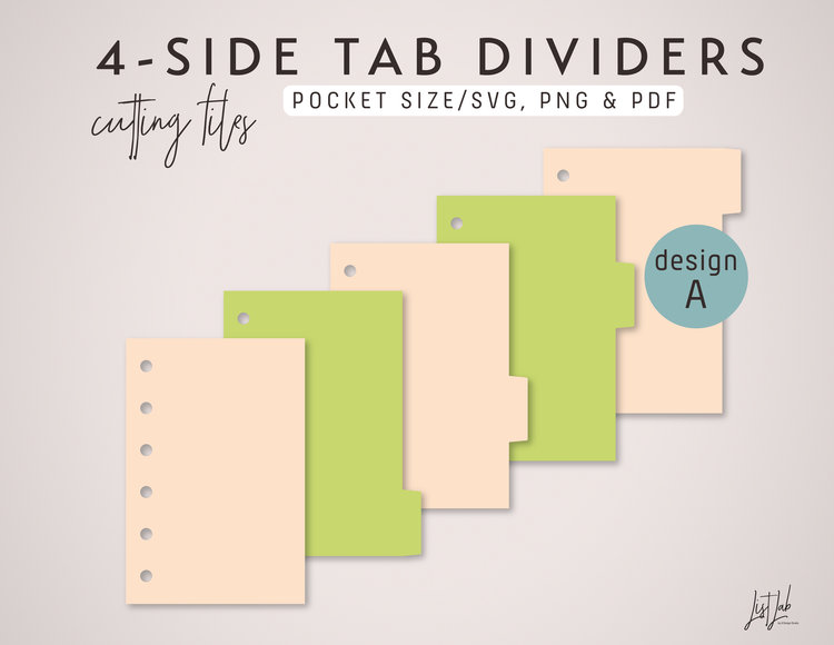 4 side tab dividers for pocket size planner die cutting files set