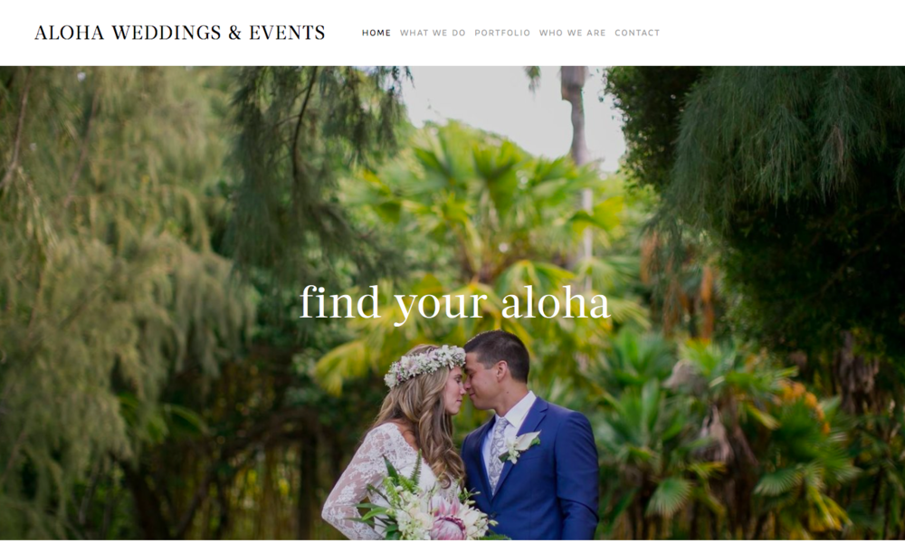 created web content + design for  Aloha Weddings & Events