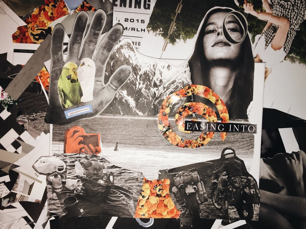 collage, b/w prints + magazine cutouts on canvas