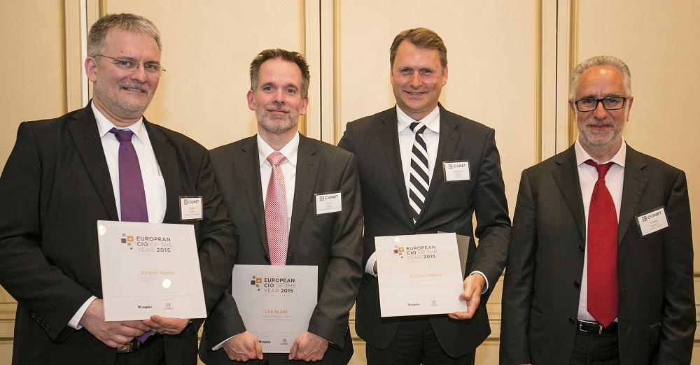 Die deutschen Finalisten des ECOTY Awards 2015 (Jürgen Renfer, KUVB, Dirk Müller, Haniel und Mattias Ulbrich, AUDI AG)