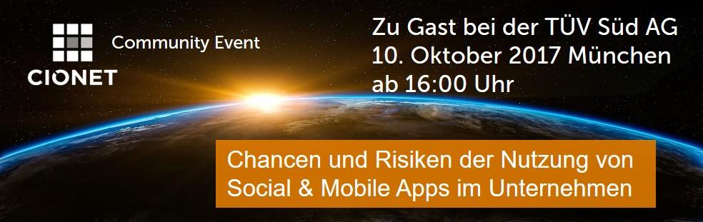 """Am 10. Oktober 2017 sind CIOs zur Diskussion über die """"Chancen und Risiken der Nutzung von Social & Mobile Apps im Unternehmen"""" eingeladen. Die Veranstaltung findet von 16:00 - 20:00 Uhr (anschließend informelles Networking) bei der TÜV Süd AG in München statt.   Anmeldung"""
