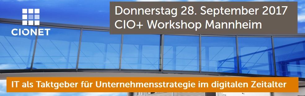 Tauchen Sie mit uns in die Kernelemente einer Strategie ein, mit denen Unternehmen für das digitale Zeitalter grundlegend neu aufgestellt werden können. Dieser Workshop ist exklusiv für aktive CIOs, die Teilnehmerzahl ist auf 20 Teilnehmer begrenzt: Mehr Informationen sowie die Agenda des CIO+ Workshops erhalten Sie auf der  Veranstaltungseite , dort können Sie sich auch anmelden!