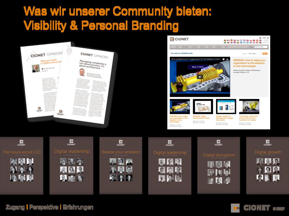 """Unseren CIONET Mitgliedern bieten wir unterschiedliche Plattformen um ihr Know-how, ihre Erfahrungen und ihre Projekte sichtbar zu machen. Sei es über  Artikel in unserem CIONET Magazin , in unserem neuen Format """" 7 Questions to a Digital Leader """" und den """" CIONET Opinions """"."""