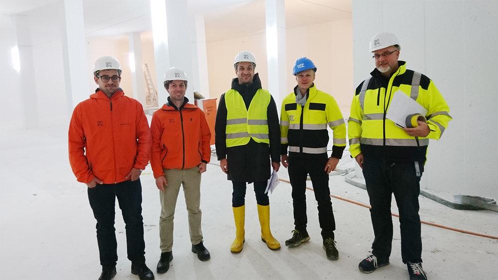 Team für die Planung der technischen Ausbauten: David Weibel, Christoph Ris, Jakob Scherer, Samuel Bucher (WWZ), Andreas Stucki (v.l.n.r.)