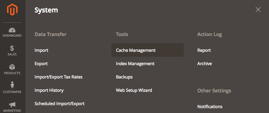The Cache Management link is located under Settings > Tools.