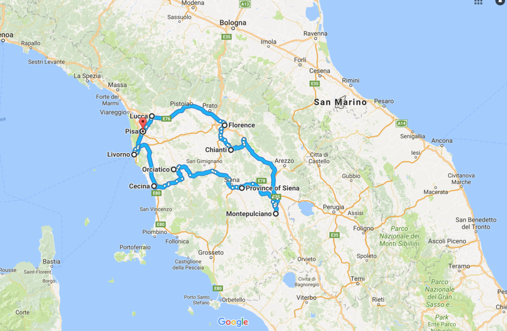 Road Trip: Tuscany in 14 days  Map