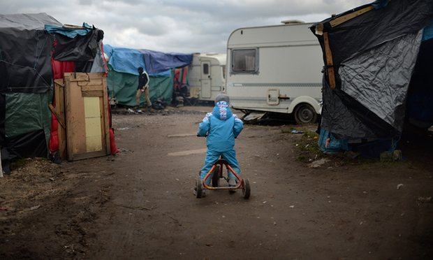 A child in the migrant camp in Calais. Photograph: Anthony Devlin/PA
