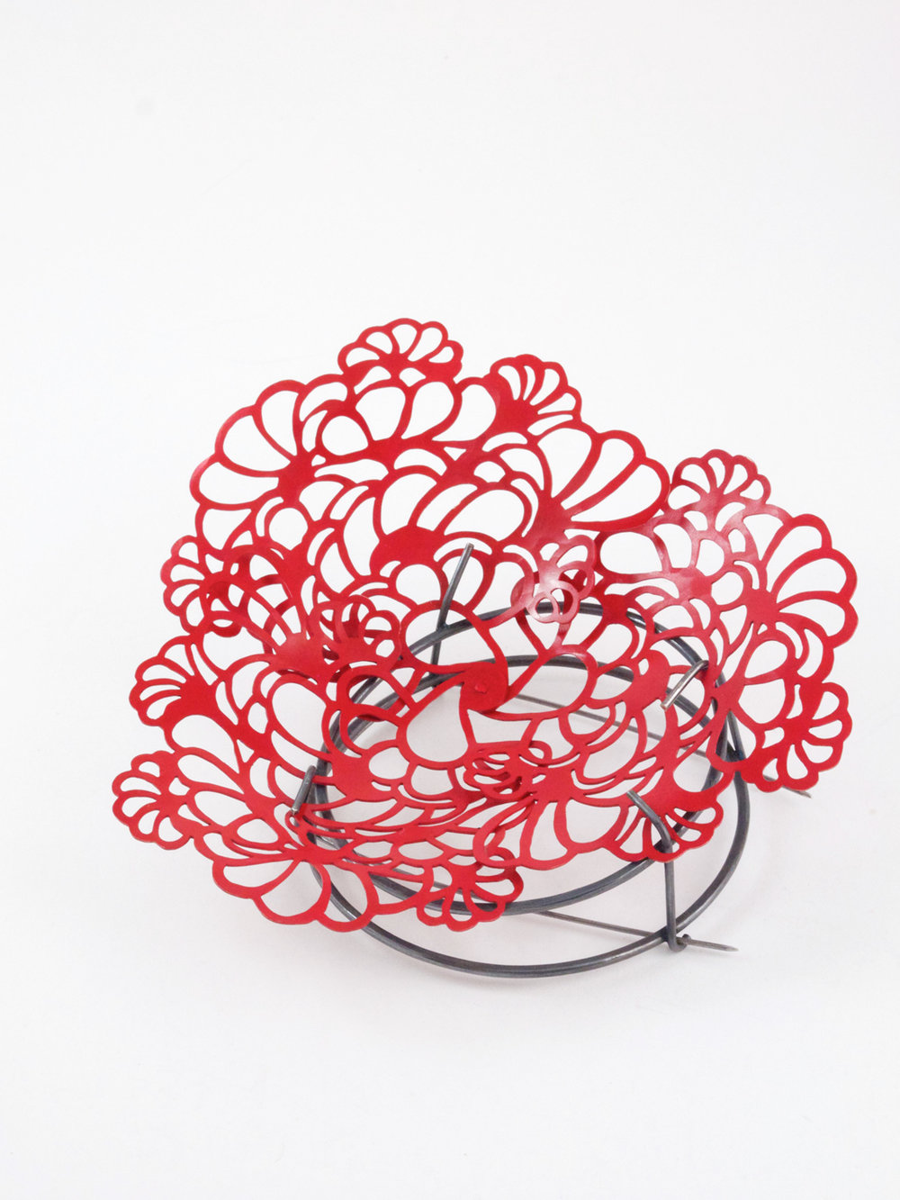 Red Spring. 2013.  Brooch. Laquered copper and oxidized silver.