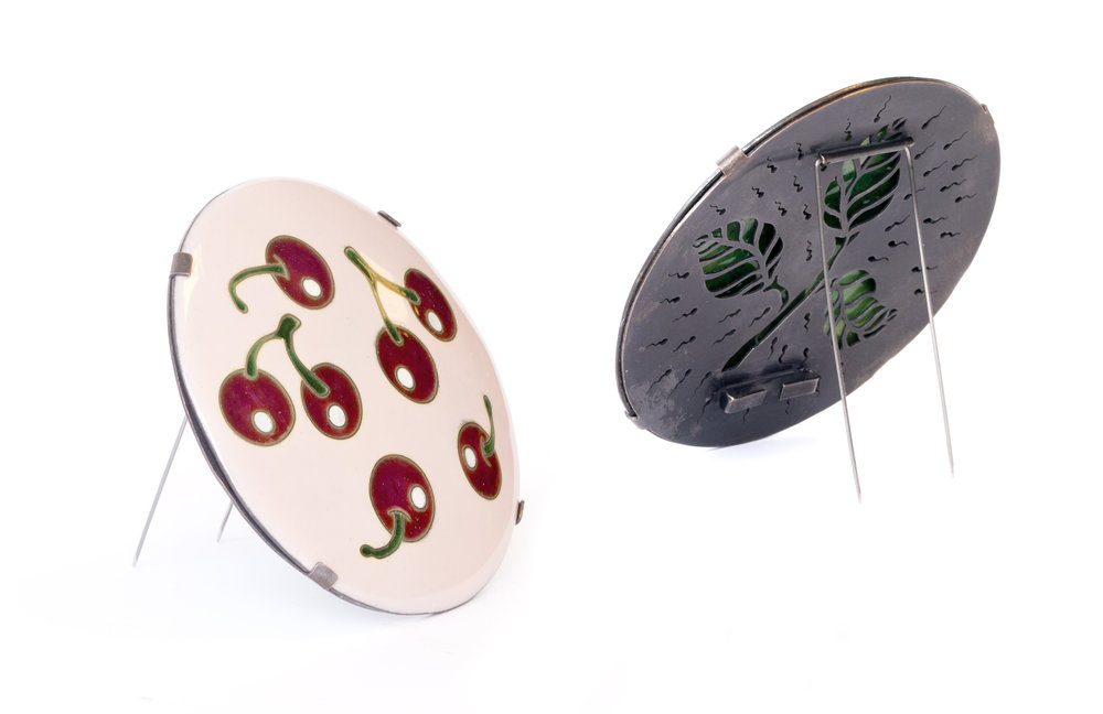 Pop the Cherry, 2018  Enamel, copper, silver cloisonne, steel wire. (Front and back) Brooch.