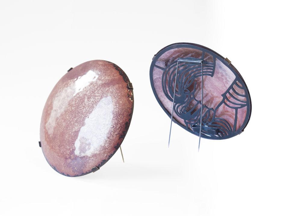 Venus as a Boy, 2018   Enamel, copper, silver, steel wire. (Front and back) Brooch.