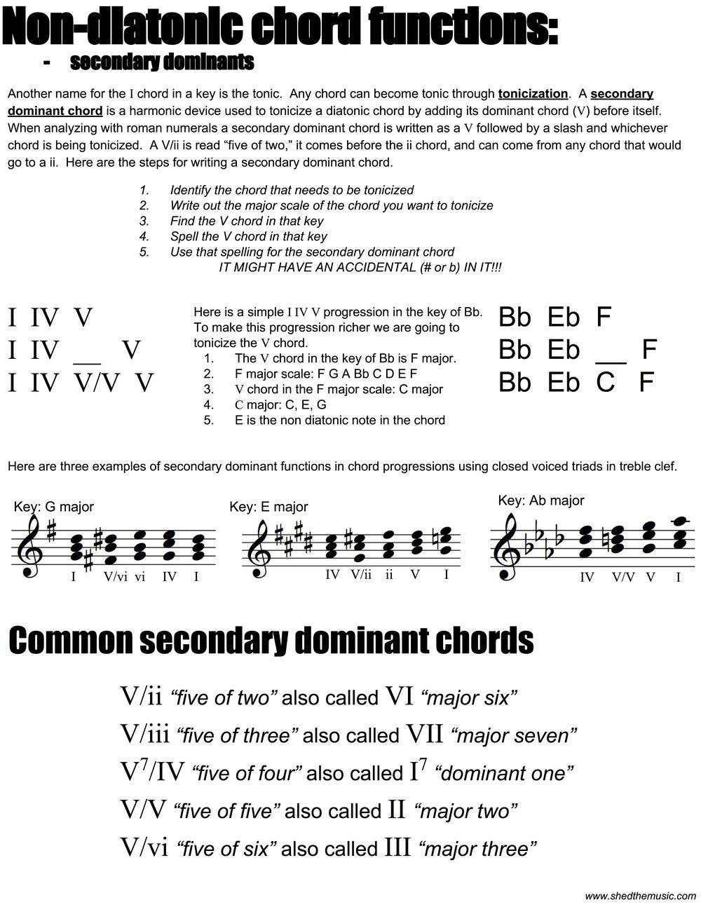 Secondary dominants the shed secondary dominant pdf hexwebz Choice Image