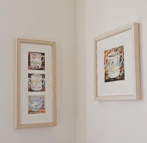 Some of Miranda's Emily Sutton artwork - the image on the right is an original painting, but the image on the left is a series of cards that Miranda had framed and which she mentions in this episode.