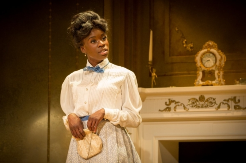 Faith Omole as Mable Chiltern in  An Ideal Husband , Vaudeville Theatre. Photograph by Marc Brenner; Image via  here .