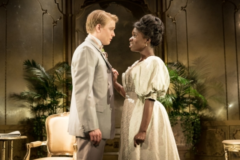Faith Omole and Freddie Fox in  An Ideal Husband , Vaudeville Theatre. Photograph by Marc Brenner; Image via  here .