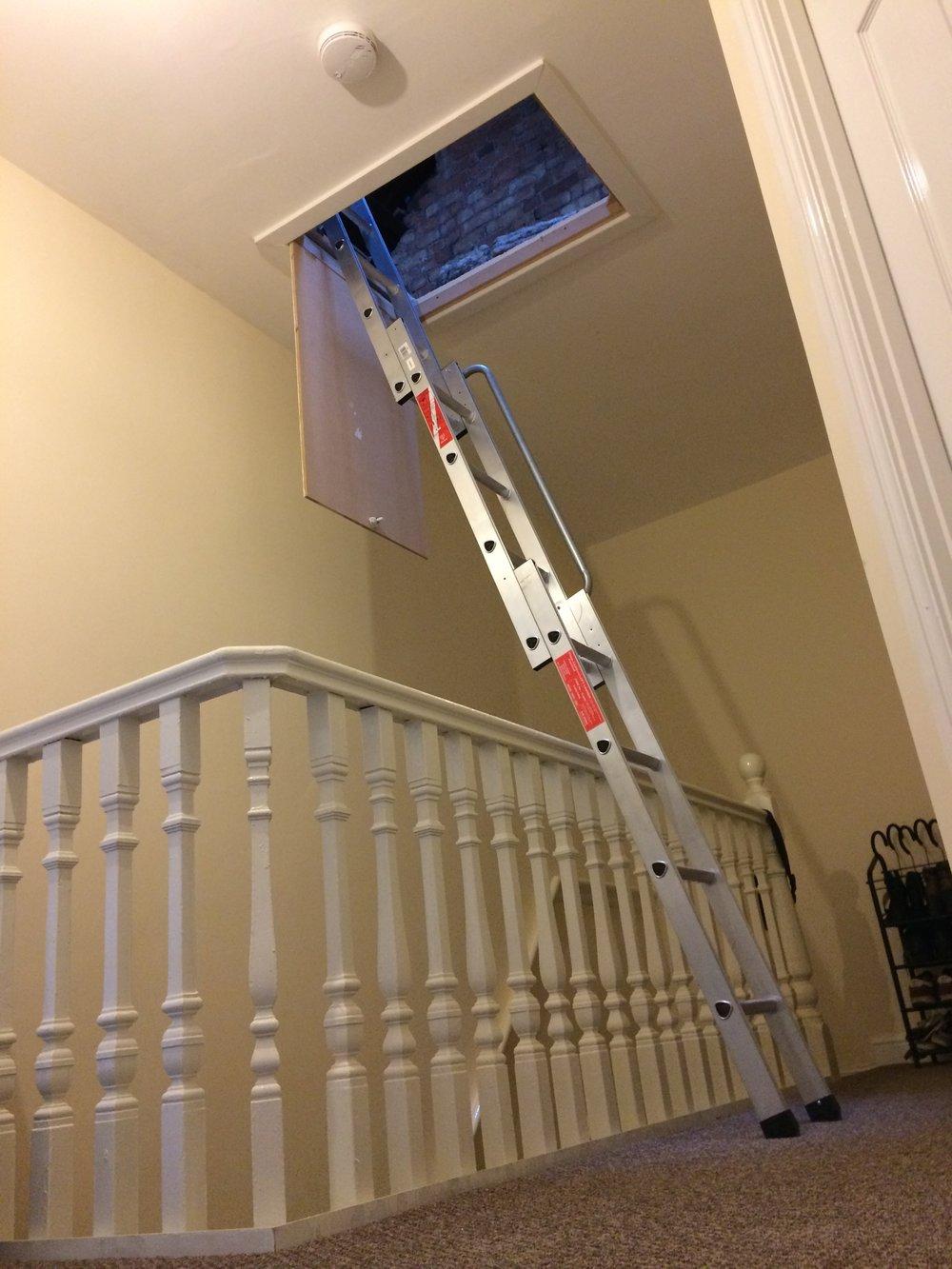 Titan 3 Stage Aluminium Loft Ladder in use.