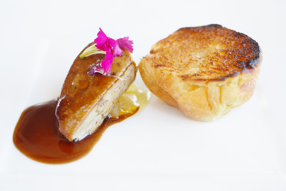 Pan Seared Duck Foie Gras with Caramelized Apple Compote, Cinnamon Meat Jus