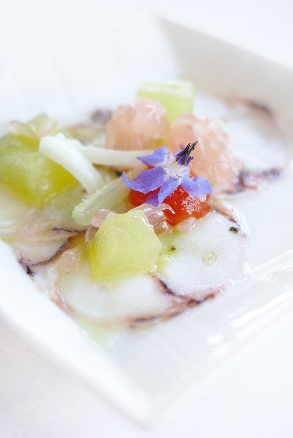 Octopus Carpaccio with Cilantro Citrus Emulsion and Sweet Chili Coulis