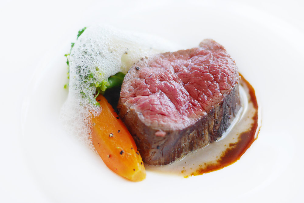 Black Angus Beef Tenderloin  with Char Grilled Seasonal Vegetable, Black Truffle Meat Reduction