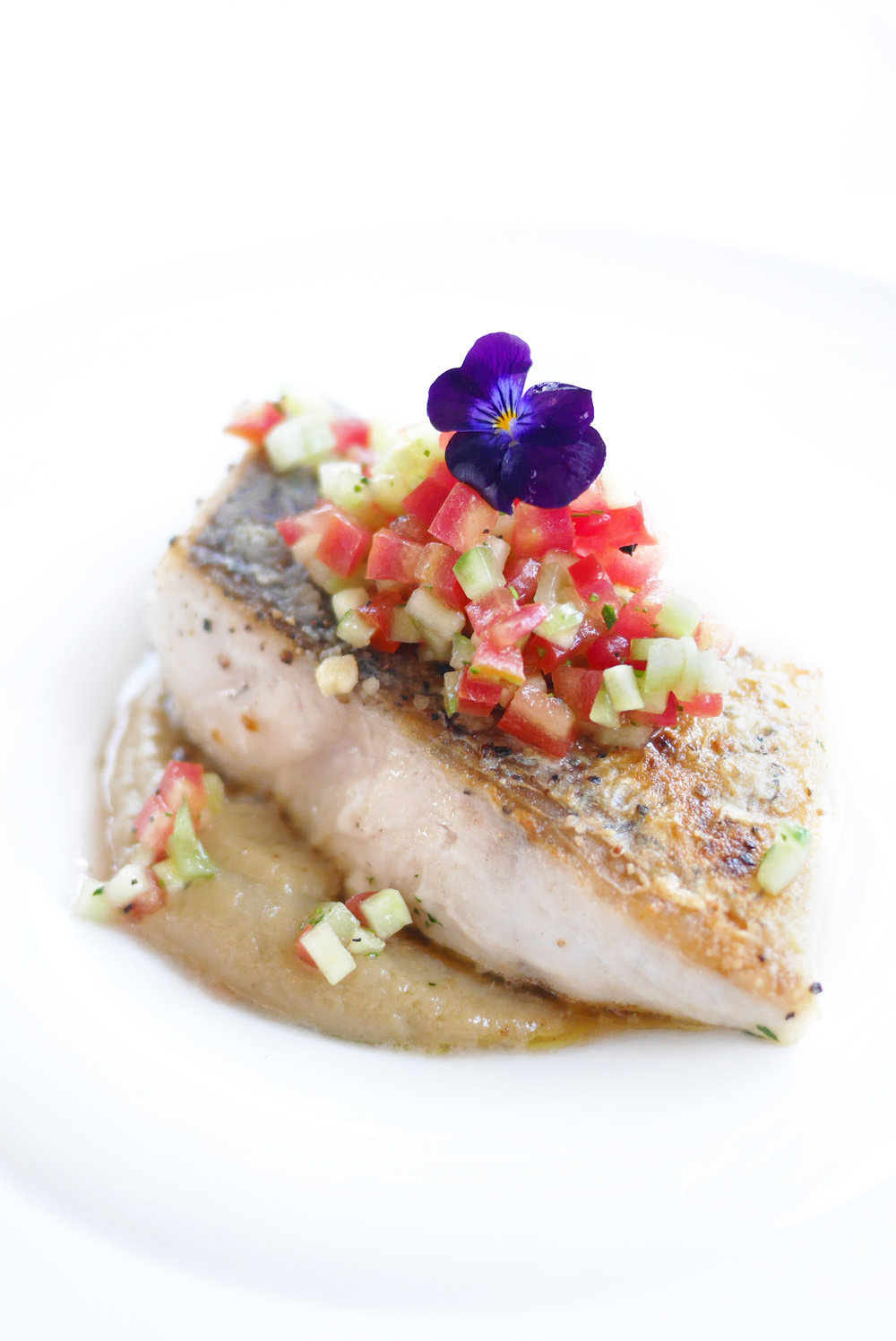 Catch of the Day Fish Fillet  with Roasted Eggplant Sambal, Fresh Cucumber-Tomato Salsa
