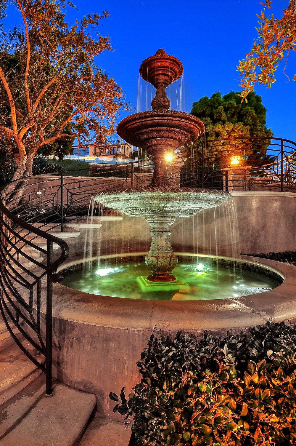 custom water fountain built at Newport Coast, CA home