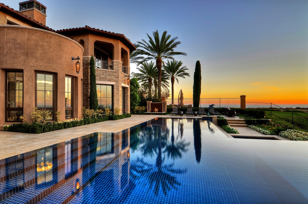 glass tile swimming pool custom in newport harbor, california home
