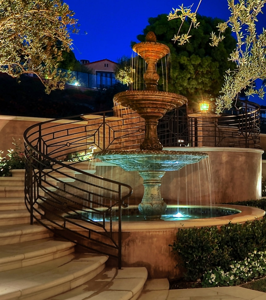 custom stone waterfall construction in newport beach, CA