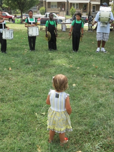 Hazel watching the Fusion marching band at ANC 4D Community Fun Day