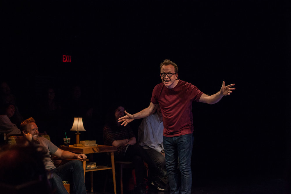 Chris Gethard: Career Suicide , Written and Performed by Chris Gethard, Directed by Kimberly Senior, 45 Bleecker Street, NYC.Photo by Christian Frarey.